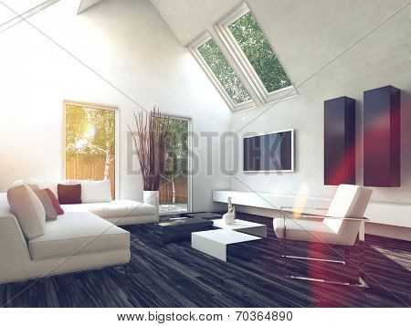 Elegant White Inspired Comfy Living Room with Glass Windows.