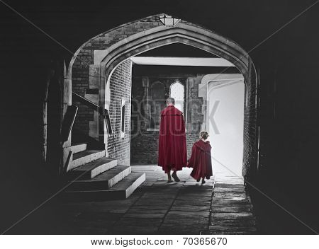 Rear view of father and little daugther walking. Toned picture with red colorized capes