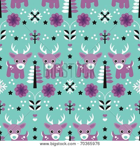 Seamless kids reindeer winter wonderland blossom  illustration wrapping paper for christmas background pattern in vector