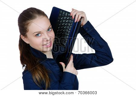 The Smiling Girl With The Laptop In Hands