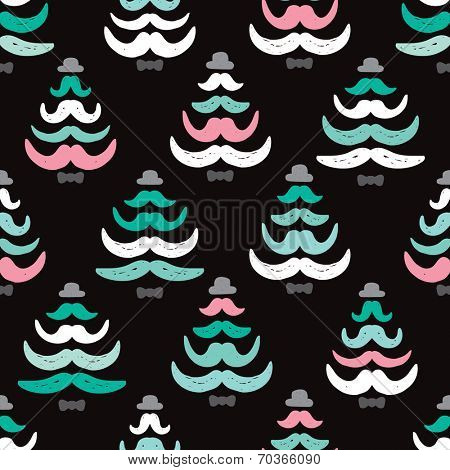 Seamless mustache hipster christmas tree holiday season illustration background wrapping paper pattern in vector