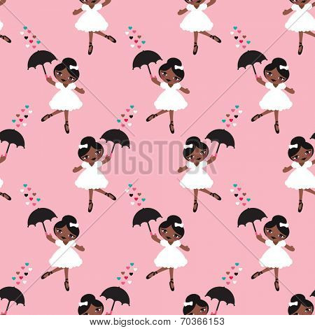 Seamless dancing afro american girls ballerina show girl illustration background pattern in vector