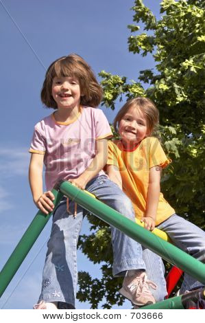 Twins On Climbing Pole 05