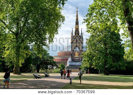 LONDON, UK - AUGUST 04, 2014 - Unknown people near the Albert Memorial in Kensington Gardens, London, UK on August 04, 2014