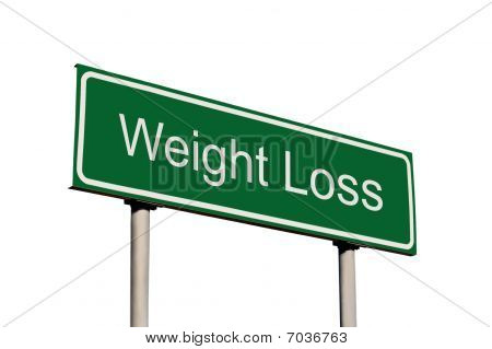 Weight Loss Green Road Sign Isolated