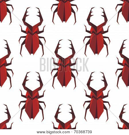 Seamless pattern of origami staghorn beetle
