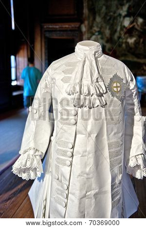 HAMPTON COURT, UK - AUGUST 03, 2014 - White baroque style clothes at Hampton Court Palace near London on August 03, 2014
