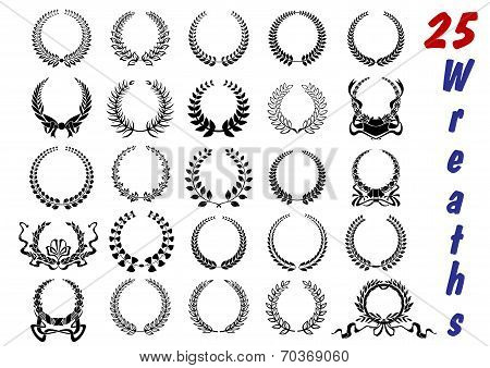 Laurel wreaths icon set