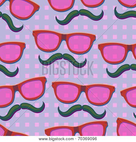 Nerd pink glasses.Seamless vector Illustration