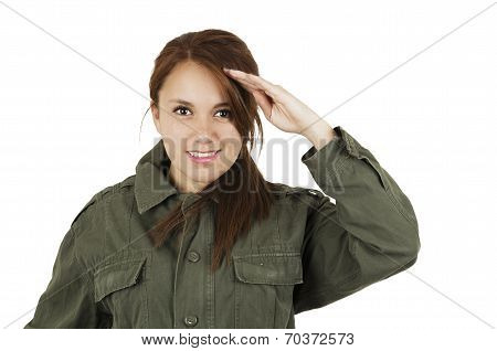 Portrait of beautiful young girl wearing green military style jacket