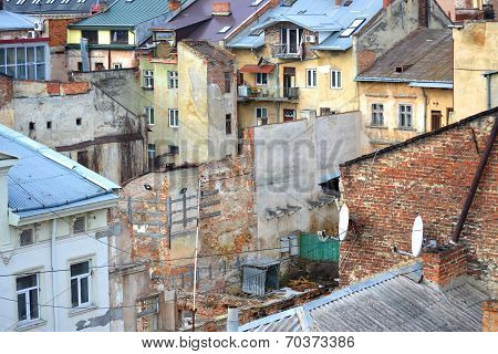 houses, buildings,Slums In The City Of Lvov, Ukraine January 11, 2014