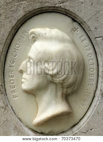 PARIS, FRANCE - NOVEMBER 07, 2012: Tomb of Frederic Chopin, famous Polish composer, at Pere Lachaise cemetery in Paris, France, on November 07, 2012.
