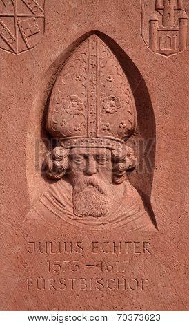 GEMUNDEN, GERMANY - 18 JULY: Monument of Julius Echter von Mespelbrunn, Bishop of Wurzburg in Gemunden, Bavaria, Germany, on July 18, 2013