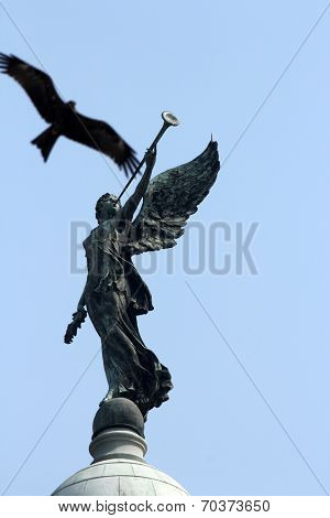 KOLKATA,INDIA - NOVEMBER 27: Angel of victory atop the dome of Victoria Memorial in Kolkata, West Bengal, India on November 27, 2012.