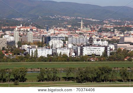 ZAGREB, CROATIA - OCTOBER 14: Croatian National Radio and Television Building and the city of Zagreb in the background on October 14, 2007.