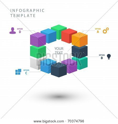 Color cubes info graphic template for presentation.