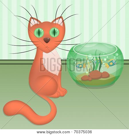 Cartoon red cat and aquarium with fishes