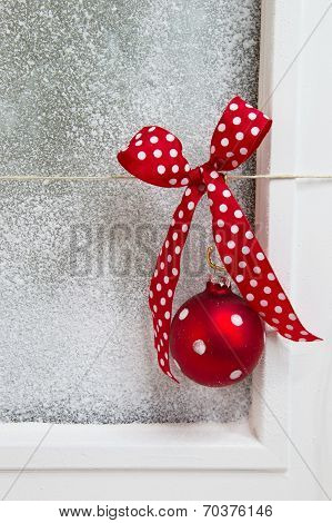 White Christmas Background With Snow - Shabby Chic Style With A Red Ball
