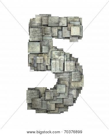 3D Gray Tile Five 5 Number Fragmented On White