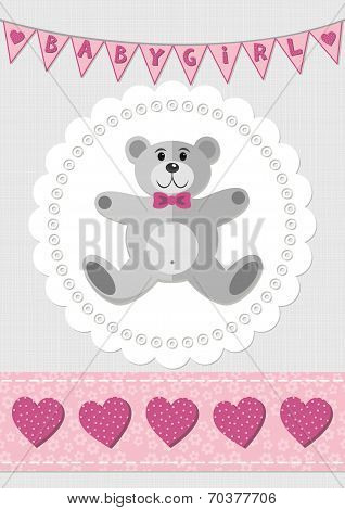 Toy animal teddy bear on white doily with flag banner and ribbon pink baby girl room illus