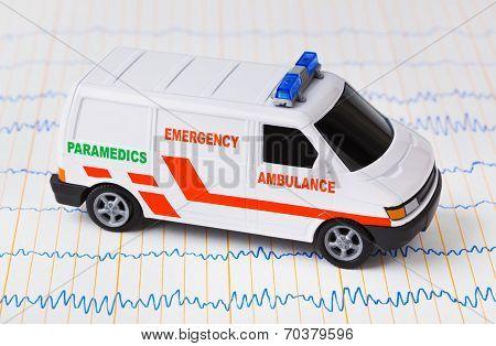 Toy Ambulance Car On Ecg