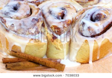 Three Fresh Baked Cinnamon Buns