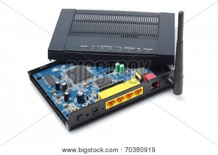 Disassembled Wireless Modem Exposing Internal Components