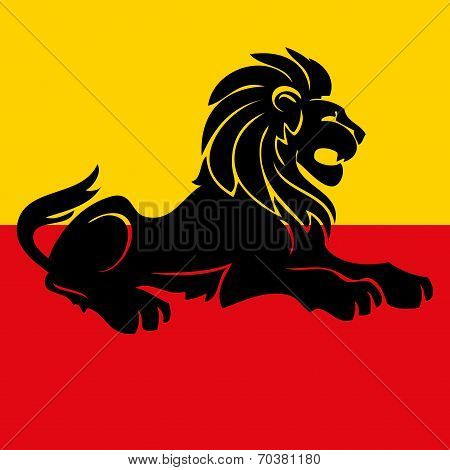 Illustration of a heraldic rampant lion