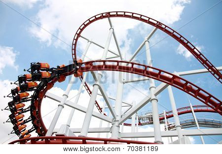 Rollercoaster Against Blue Sky.