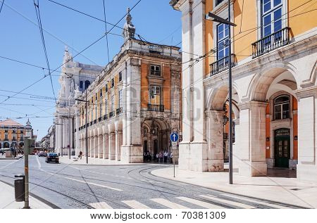 Lisbon, Portugal.- May 11: Traditional old buildings on May 11, 2014. Beautiful street view of historic architectural in Lisbon, Portugal, Europe