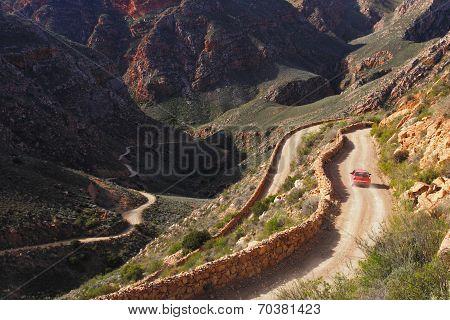 Dusty mountain pass