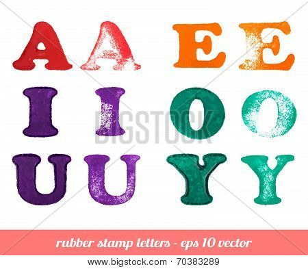 Isolated rubber stamp letters set