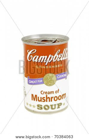 West Point - August 17, 2014: Can of Campbell's Cream of Mushroom Soup in concentrate form
