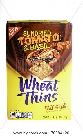West Point - August 17, 2014: 9oz Box of Nabisco brand Sun Dried Tomato and basil flavored Wheat Thins