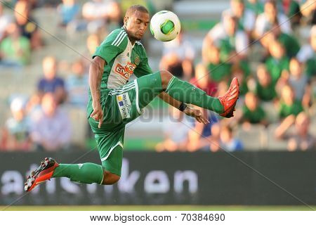 VIENNA, AUSTRIA - JULY 12 Terrence Boyd (#9 Rapid) kicks the ball at a friendly soccer game on July 12, 2013 in Vienna, Austria.