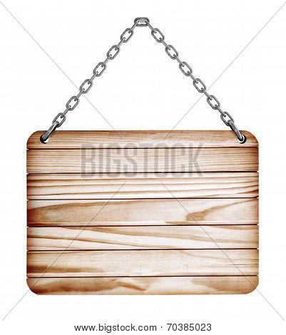 blank wooden sign hanging on a chain. isolated on white. with clipping path