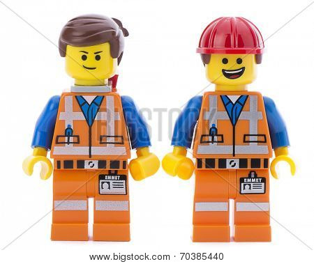 Ankara, Turkey - March 15, 2014 : Two Lego movie minifigure characters Emmet isolated on white background.