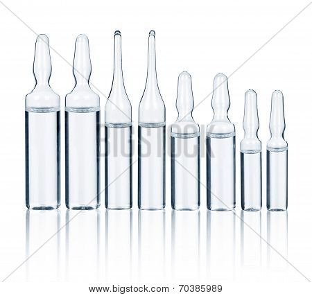 Different Transparent Medical Ampoules Isolated On White Background