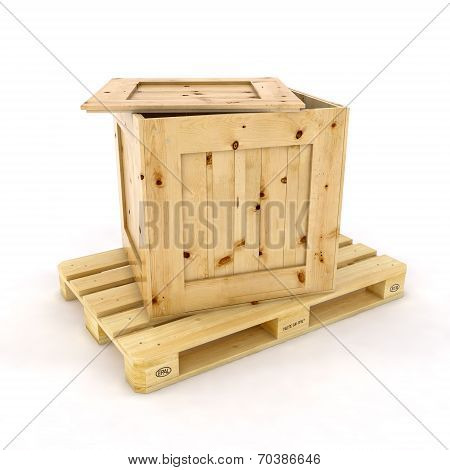Cardboard with stacked boxes on wooden pallet