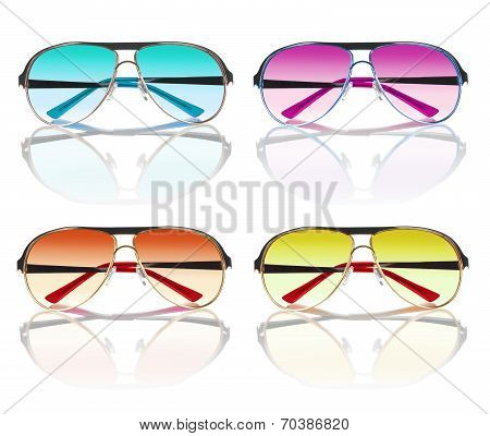 Collection Of Colorful Sunglasses Isolated On White Background