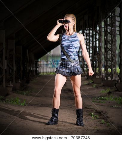 Young woman in uniform with binoculars (normal version)