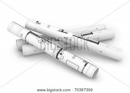 Scrolls of engineering drawings. Isolated render on a white
