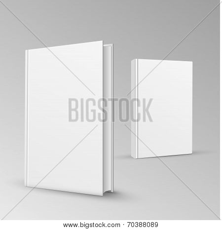 Blank vertical book cover template with pages in front side standing on white surface Perspective vi
