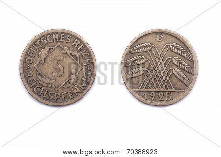 Five German Pfennig from 1925.