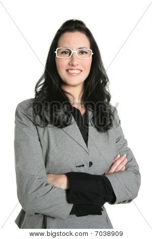 Businesswoman Brunette Gray Suit Portrait