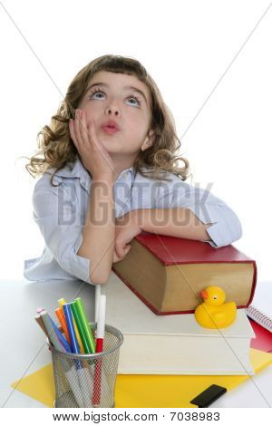 Bored Student Little Girl Isolated On White