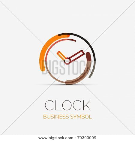 Vector clock, time company logo design, business symbol concept, minimal line style
