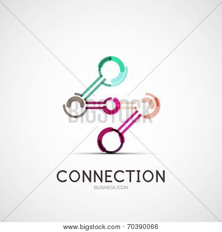Vector connection icon company logo design, business symbol concept, minimal line style