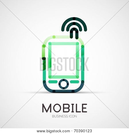 Vector mobile phone icon company logo design, business symbol concept, minimal line style