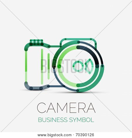 Vector camera icon company logo design, business symbol concept, minimal line design